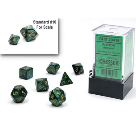 Scarab® Mini-Polyhedral Jade/gold 7-Die Set