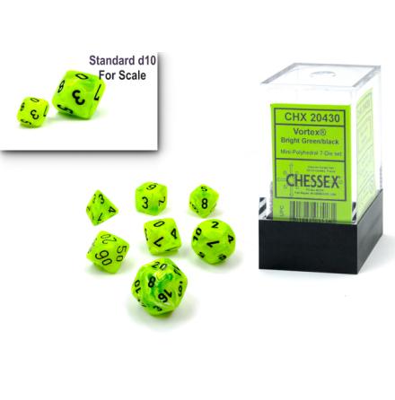 Vortex® Mini-Polyhedral Bright Green/black 7-Die Set