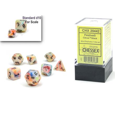 Festive® Mini-Polyhedral Circus™/black 7-Die set