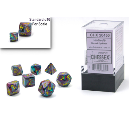 Festive® Mini-Polyhedral Mosaic/yellow 7-Die set