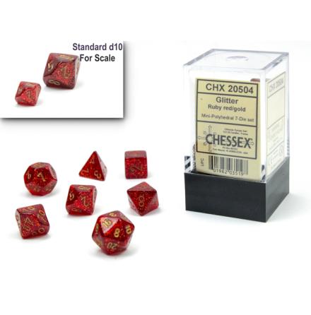 Glitter Mini-Polyhedral Ruby/gold 7-Die Set