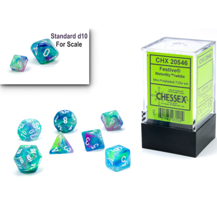 Festive® Mini-Polyhedral Waterlily™/white 7-Die set